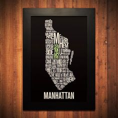 New York Typography Map Print 12 x 18 by FlyingJunction on Etsy Manhattan New York, Brooklyn New York, New York City, Typography Prints, Typography Design, New York Neighborhoods, Poster Prints, Framed Prints, Posters