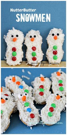 christmas cookies snowman Weihnachtspltzchen Adorable little NUTTER BUTTER Snowmen are as easy to make as they are easy to eat! Dip each cookie into white candy melts and cover with shredded coconut. Then, decorate with candies. Time to get creative! Christmas Party Food, Christmas Sweets, Christmas Goodies, Christmas Candy, Holiday Cookies, Holiday Treats, Holiday Recipes, Christmas Recipes, Christmas Ideas