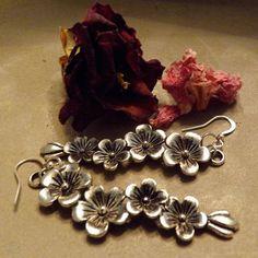 Silver Flower Dangle Earrings by DebWiseCreations on Etsy, $5.99