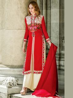 Fantastic #Georgette #Kameez in red color is beautified with resham work. Item Code: SLANA10004 http://www.bharatplaza.com/new-arrivals/palazzo-suits.html