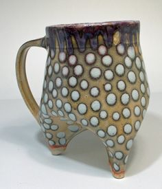shino tripod cup with grey to pink polka by BlackForestPottery, $24.00