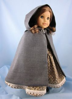 Cloak fits American Girl Dolls - 18 Inch Doll Cape - Grey Wool Blend with Satin Lining - Doll Clothing