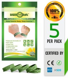Amazon.com : Insectar Mosquito Repellent Bracelet, 5 Pack Best Pest, Insect & Bug Control Repeller up to 5-7 Days Protection for Good Life, Travel, Outdoor & Indoor-Great for Kids, Babies, Adults-All Natural Plants-Deet-Free, No-Spray-100% Money Back Guarantee : Patio, Lawn & Garden