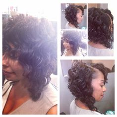 Full sew-in bob .. With a Angel Cut with points on each side!! (With Layers)