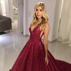 Sparkly V-Neck Sleeveless Long Burgundy Prom Dress with Sequin Evening Dress Sparkly Burgund Prom Dress, Pailletten Abendkleid, Prom Kleider 2019 Evening Gowns On Sale, Sequin Evening Dresses, Mermaid Evening Dresses, Sequin Gown, Ball Gowns Prom, Red Ball Gowns, Homecoming Dresses, Dress Prom, Graduation Dresses Long