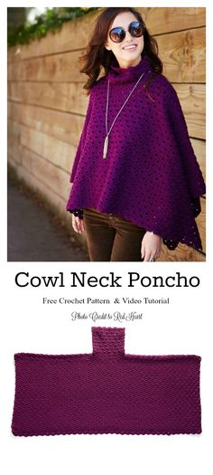 Crochet Blusas Patterns Perfectly Cowl Neck Poncho Free Crochet Pattern and Video Tutorial - The Perfectly Cowl Neck Poncho Free Crochet Pattern is a one-size-fits-all design that features a turtleneck for warmth and maximum coziness. Crochet Capelet Pattern, Poncho Knitting Patterns, Knit Crochet, Free Crochet, Crochet Vests, Crochet Edgings, Crochet Shirt, Scarf Patterns, Knitted Shawls