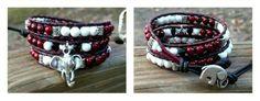 Roll Tide #3, triple wrap leather beaded bracelet