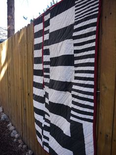 Baby Quilt.  Black and White and Red All Over.