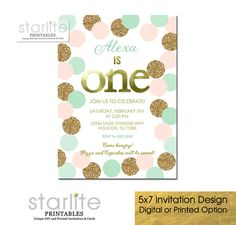 Girl 1st Birthday Invitation, Blush Pink Mint & Gold, Glitter, Modern, Dots, first birthday - Printable Digital Diy or Printed by starwedd on Etsy https://www.etsy.com/listing/216567763/girl-1st-birthday-invitation-blush-pink