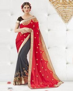 Red & Grey Fancy Multi Embroidery With Dimond & Heavy Border Georgette Saree