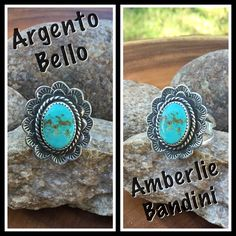 Argento Bello artist Amberlie Bandini. Turquoise and stamped Sterling ring.