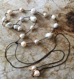 Gorgeous baroque and freshwater pearls by JulieMoloneyDesigns #lariat, #spring, #2017 spring trend, #choker, #pearl, #tie necklace, #trendy