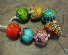 Bollywood Chunkies Devamati Lampwork Bead Set by flamekeeper, $85.00