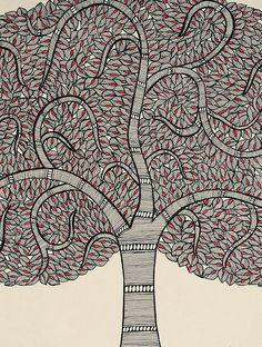 Buy Tree of Life Madhubani Painting (15in x 23in) Online at Jaypore.com Madhubani Art, Madhubani Painting, Indian Art Paintings, Nature Paintings, Tree Of Life Painting, Rose Cuttings, Kalamkari Painting, Indian Folk Art, Indian Patterns