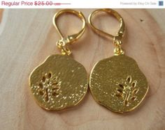 Gold Woodland Earrings, Gold Dangle Earrings, Gold Fern Disc  Earrings, Gold Earrings, Gold Charm Earrings, MalieCreations
