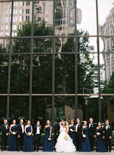 Formal bridal party, Black tuxedo, Navy bridesmaid dresses, white bouquet, Ballgown wedding dress, Hayley Paige