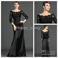 Wholesale Evening Dresses - Buy Famous Designer Scoop Lace Floor-length Sheath Black Elastic Satin Fashion Evening Dress Styles, $97.48 | DHgate COMES IN RED!!!