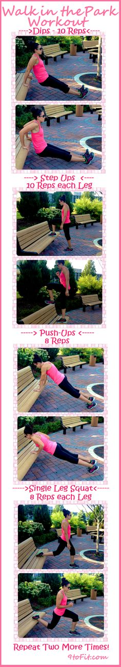 4 Moves to a Better Body.  Get outside and enjoy the nice weather while you still can ! TRY THIS FULL BODY WORKOUT , all you need is a park bench!