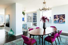 Love this color palette!  Magenta, aqua, periwinkle on white, darker floors.  Lonny.com article on 2017 trends.