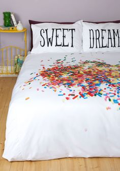 A Snooze-ful of Sugar Duvet Cover in Full/Queen. With this inviting ModCloth-exclusive duvet cover atop your bed, you never have trouble getting to sleep on time! #multi #modcloth