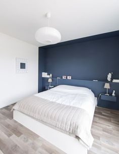 painted nook - nice blue Contemporary Bedroom by Atelier Form - Architectes DESL - Bedroom Design Ideas Bedroom Colors, Bedroom Decor, Bedroom Ideas, Bedroom Lighting, Navy Bedroom Walls, Bedroom Furniture, Navy Blue Bedrooms, Bedroom Nook, White Bedroom