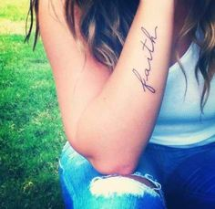 Faith tattoo Maybe on the inside of my upper arm that would be soo cute can& wait to get tattoos Trendy Tattoos, Cute Tattoos, New Tattoos, Small Tattoos, Faith Tattoos, Have Faith Tattoo, Faith Tattoo On Wrist, Cross Tattoos, Tattoo Small