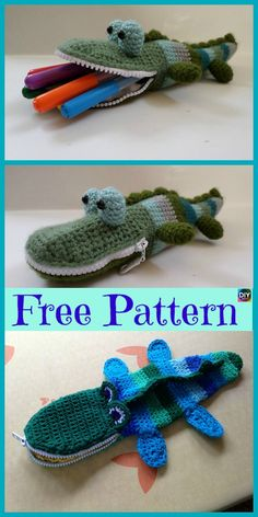 eight Cutest Crocheted Pencil Case – Free Patterns Cute Crochet, Crochet For Kids, Crochet Crafts, Crochet Toys, Crochet Baby, Crochet Projects, Baby Knitting Patterns, Crochet Patterns, Animal Pencil Case