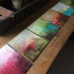 Work in progress - mini abstracts. #abstracts #painting #art #colour #workinprogress #artistatwork #studio #canvasboard #artstudio #oilpainting #arylicpainting #texture #wallart #walldecor #artistoninstagram #marionmcconaghie