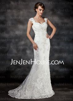 Wedding Dresses - $186.99 - Mermaid Sweetheart Sweep Train Satin Tulle Wedding Dress With Lace Beadwork (002017413) http://jenjenhouse.com/Mermaid-Sweetheart-Sweep-Train-Satin-Tulle-Wedding-Dress-With-Lace-Beadwork-002017413-g17413
