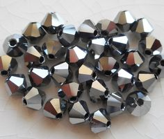 Lot of 24 4mm Czech opaque Hematite glass faceted bicone beads, Preciosa Crystal silver bicones 7401