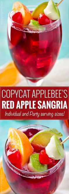 Applebee's Red Apple Sangria (Copycat Recipe)   This copycat recipe of Applebee's popular red apple sangria is crazy spot on, and is super easy to make!  Easy to adjust to make for a crowd!   The 5 o'clock Chef   #copycatrecipe #sangria #redapplesangria #redsangria #applebeesrecipes #drinkrecipe