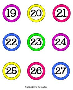 Here's a set of number cards from 1-100. Also includes classroom labels for lunch, attendance, office/bathroom/nurse, etc..