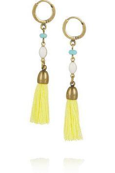 Gold-plated, howlite and tassel earrings #jewelry #women #covetme #isabelmarant