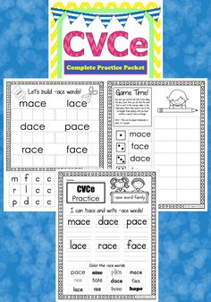 CVCe Complete Practice Packet. Great for classrooms and homeschool!