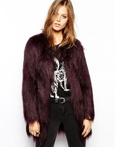 Unreal Fur Wanderlust Coat in Wine Faux Fur - Wine by: Unreal Fur @ASOS (US)