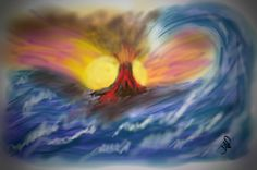 3/5/14 Volcano Sunset by Julie Payne using my brushes app pro