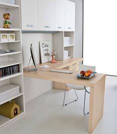 A mid wall desk and some closed cabinets for the unpretty? White shelves, pale desk? ~ J   Escritorio en L
