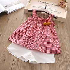 Mommy Baby Chic Dress, Matching Fashion, Shop Plaid Ruffle Trim Cami Top And Solid Color Shorts Sets online. Baby Girl Dress Patterns, Baby Dress Design, Cute Girl Outfits, Toddler Girl Dresses, Little Girl Dresses, Toddler Outfits, Kids Outfits, Fashion Kids, Baby Suit