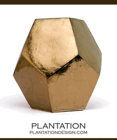 Polyhedron Stool/Side Table | Gold $625 plantationdesign.com