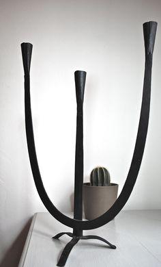 Mid Century Brutal Modernist Hand Welded Black Candelabra Sculpture