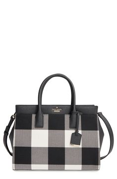 kate spade new york 'cameron street plaid - candace' satchel  358