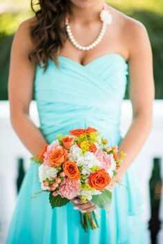 David's Bridal Spa Blue, Peach and Orange Bouquet.- Stephanie Messick Photography