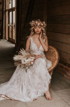 Beach Boho Elopement Wedding | Bride with Lace and Sequin Dress | Dried Flowers and Pampas Grass Bouquet | Raffia, Straw, Macrame, and Seashell Decor Ideas | Rustic, Modern, and Adventurous Intimate Wedding | Flower Crowns, Sparklers, and Double Peacock Chair | Nude and Earthy Colour Palette | Grazing Platter | Photography by Nataly J Photography and styling & planning by The Stars Inside #weddings #elopement #boho #bride #driedflorals