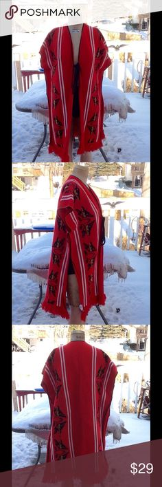 """VTG Hippie MEXICAN Ethnic Poncho This is so cool..it's a VTG MEXICAN hippie ethnic poncho in a red knot (like a sweater) features armholes and a tie in front ,and fringed bottom,it's made in MEXICO by Gaban 100% acrylic very soft,it's in a red,black and white the only flaws on this is a tiny dark spot near tie on right side may come out and there is a flaw in the knit on back in center of back,not a hole just a flaw in the yarn,otherwise in awesome condition! OSFM,MEASUREMENTS: L:36"""", SH…"""