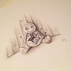 Voodoo doll pencil drawing tattoo sketch