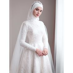 non traditional muslim wedding dresses Wedding Hijab Styles, Arabic Wedding Dresses, Plain Wedding Dress, Muslim Wedding Dresses, Weeding Dress, Muslim Brides, Elegant Wedding Dress, Wedding Attire, Kebaya Wedding