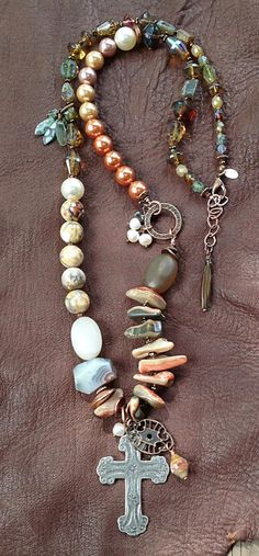 """DESERT ROSE: abalone, agate, glass, freshwater pearls, glass pearls, mixed metals. 29"""" plus extender by Toni McCarthy"""