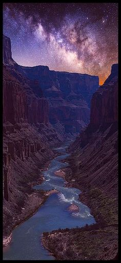 The Colorado River as seen below Nankoweap in the Grand Canyon at night. This is a blue hour blend - one photograph of the foreground and distance taken at blue hour and the Milky Way photo taken much later in the night. Beautiful Landscape Photography, Beautiful Landscapes, Nature Photography, Photography Ideas, Grand Canyon Photography, We Will Rock You, To Infinity And Beyond, Stargazing, Nature Pictures