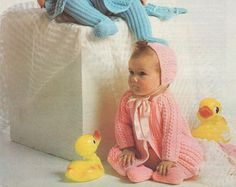 Baby Boy or Girl Pram Set PDF Knitting Pattern : Babies 18 - 19 inch chest . 46 - 48 cm chest . Coat . Leggings . Bonnet . Mittens .