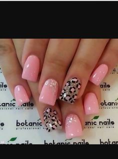 Cute pink leopard print nail art  Ideas